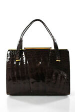 Designer Brown Crocodile Gold Tone Accents Medium Vintage Handbag