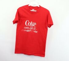Vintage 70s Hanes Coca Cola Mens XS Spell Out Short Sleeve T-Shirt Red Cotton