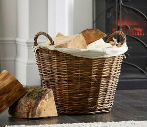 Vintage Decor ® Large Round Brown Rustic Wicker Fireside Log Basket With Liner