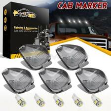 5xSmoke Cab Roof Clearance Light Covers+T10 Free White LEDs For Ford F-350 F-450
