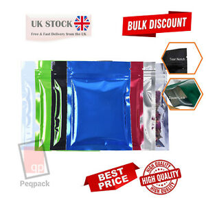 Shiny Foil Glossy Flat Colours Pouches Mylar Food Grade Zip Lock Heat Resealable