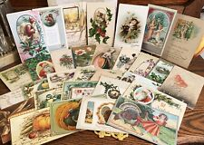 31 Old Antique Holiday Postcards, Thanksgiving, Christmas, New Years Early 1900s