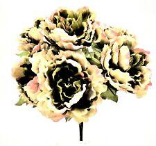 Artificial Satin Peony Flowers BushBouquet Decoration - Cream/Green/Pink