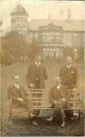 Portrait group of 4 gentleman moustache RPPC postcard antique photograph