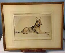 "Vintage Hermann Fritz Neumann Signed Etching ""The Watcher"" German Shepherd"