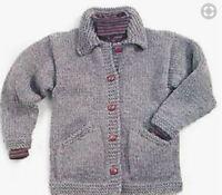 "Super Chunky Jacket Collar Pockets~ Large Size  42"" - 66"" Easy  Knitting Pattern"
