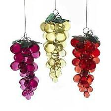 Set of 3 Acrylic Beaded Grapes Ornaments w