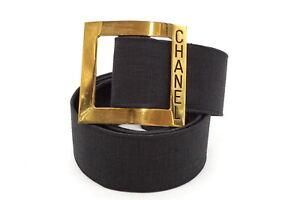 CHANEL Vintage Waist Belt Logo Square Buckle Canvas Black 3322k