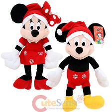 "Disney Mickey Minnie Mouse Christmas Plush Doll 18"" Set X mas Soft Stuffed Toy"