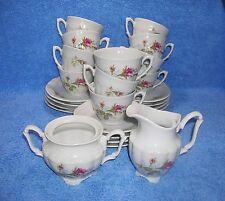 Walbrzych, Pompadour Rose - 11 Cups, 12 Saucers, Sugar Bowl & Creamer (25 Pcs.)