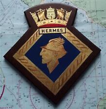 Hms Hermes Royal Navy Sailor Pintura Trinchera Arte Buque De Guerra Crest Escudo Placa