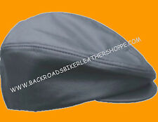 Black Leather Biker Motorcycle Ascot  Style Cap/Hat
