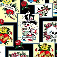 Love Is True Ed Hardy Skulls Roses Hearts Patch 24x22 Cotton Fabric Fat Quarter