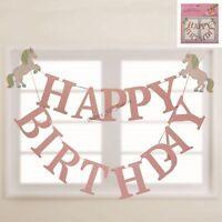 UNICORN HAPPY BIRTHDAY BANNER PARTY GARLAND 2M HANGING DECORATION GIRL FANTASY