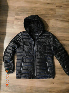 Kenneth Cole New York Mens Double Chest Pocket Puffer Jacket w Hood size Large