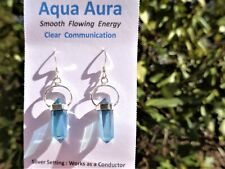 Aqua Aura Quartz 6 Sided Point Silver Earrings!- Aligns Chakras-24KGold-99%Clear