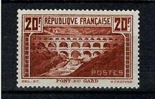 "FRANCE YVERT 262A SCOTT 253 ""PONT DU GARD 20F RED BROWN 1929"" MNH VF SIGNED V589"