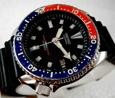 RARE SEIKO  AUTOMATIC 150M  PEPSI BEZEL JUMBO 42MM BLACK DIAL CASUAL MEN'S WATCH