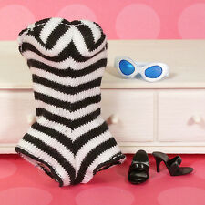 Vintage Barbie Ponytail Doll REPRODUCTION Swimsuit OT Heel Sunglasses New Debox
