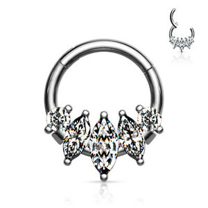 1pc Five Marquise CZ Gem Hinged Segment Ring 16g Septum Clicker Surgical Steel