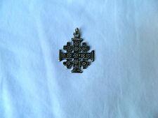 "Egyptian Sterling Silver Cross Coptic Christian Oxidized Pendant 1.35"" #C1"