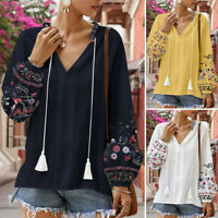Women Vintage Floral Long Sleeve V Neck Shirts Casual Loose Tops Blouse Pullover