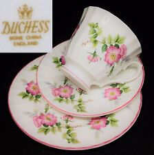 Duchess c1960s Pink Wild Roses Pink Trims English Vintage Bone China Trio Set
