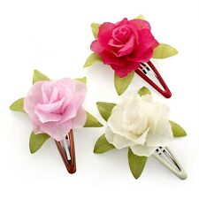 Set of 3 Pink Ivory Fuchsia Rose Flower Hair Bendies Sleepies Clips Accessories