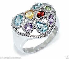 Echte Edelstein-Ringe aus Sterlingsilber mit Blautopas und Herz für Damen
