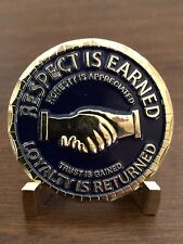 "MOTORCYCLE CHALLENGE COIN ""RESPECT IS EARNED"" ""LOYALTY IS RETURNED"""