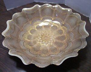 "Art Deco White & Gold Ruffle Edge Filigree Pattern Bowl 15""W x 3""D See Pics"