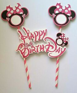 HAPPY BIRTHDAY CAKE TOPPER MINNIE MOUSE THEME CAKE TOPPER