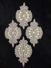 Pearl Gold / Silver Ivory Applique,Motif,Bridal,trim,Wedding,beads  13 X 7.5 CM