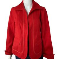Chicos Jacket Size 0 Small Piped Detail Light Plush Coat Red NWT $109 NWT