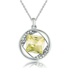 Women Jewelry Crystal Rhinestone topaz Square Charm Silver Pendant Necklace