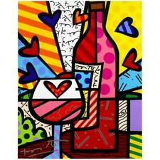 """Britto """"Food & Wine"""" Hand Signed Limited Edition Giclee on Canvas Coa"""