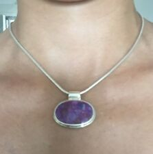 "Sterling Silver Necklace ""925"" Large Oval Purple Turquoise?  Pendant on Chain"