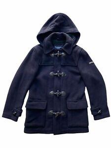 Hackett London Mens Navy Wool Duffle Coat Size S