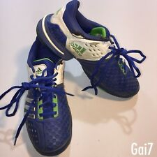 Mens Adidas Barricade 6.0 Tennis Shoes Trainers Blue Green White Size UK 6 1/2