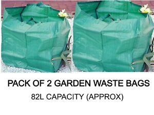 2 X GARDEN WASTE BAGS SACK 82L BIN REFUSE SACKS REUSABLE WITH CARRY HANDLES