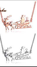 CHRISTMAS NECKLACE CRYSTAL FATHER CHRISTMAS AND SLEIGH SILVER OR ROSE GOLD 660