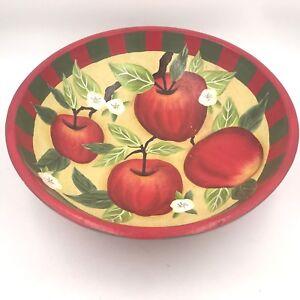 """Susan Winget Red Apple Blossom Large 14"""" Wooden Serving Bowl Cracker Barrel WD"""