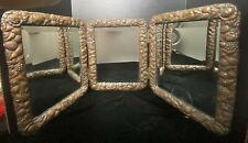 New listing Ornate Bronze/ Brass And Silver Back Antique Tri-Fold Mirror w/ Beveled Glass