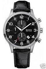 Hugo Boss hb1512448 aeroliner chronograph reloj hombre Echt Leder negro, nuevo!