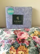 NIP Ralph Lauren Monotone Paisley Flat  Sheet ~ Lavender Blue ~ Vintage
