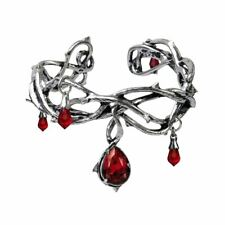 Alchemy Gothic Passion Pewter and Red Crystal Bangle - Made in England