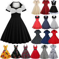 Plus Size Women Retro Vintage 50s Rockabilly Polka Dot Evening Party Swing Dress