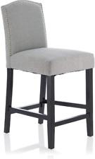 Furnish Your Home Arran Set of 2 Breakfast Bar Stool Grey Fabric Wooden Legs