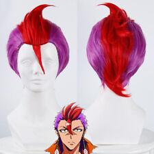 Anime Nanbaka Detentionhouse Rock Short Purple Mix Red Slicked-back Cosplay Wig