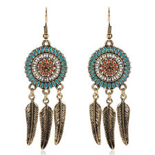 BOHO FEATHER DANGLE DROP EARRINGS Bohemian Gypsy Ethnic Tribal Bronze Jewellery